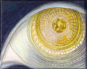 "EYE - 4""x5"" Original Surreal Painting Blue Gold Fine Art"