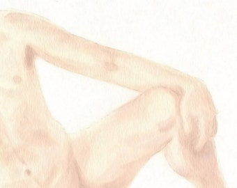 "Nude Study 009 - 8""x10"" Watercolor Male Nude Original Painting Fine Art"