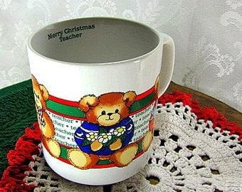 Vintage 1985 Lucy and Me Bear Merry Christmas Teacher Mug