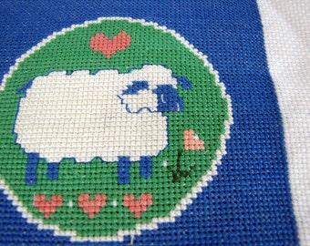 Needlepoint Sheep Picture in Blue - Vintage