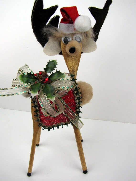 Vintage Hand Crafted Wooden Spoon Christmas Reindeer Kitschy