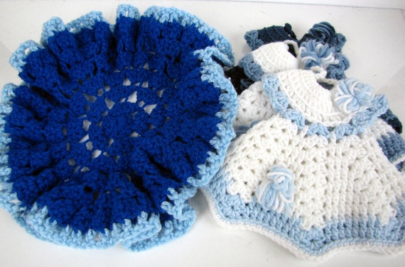 Vintage Crochet Dress Hot Pads Pot Holders and Doily Set Blue and White