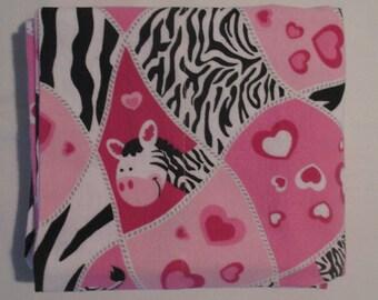 Flannel Pillowcase - VALENTINE ZEBRAS