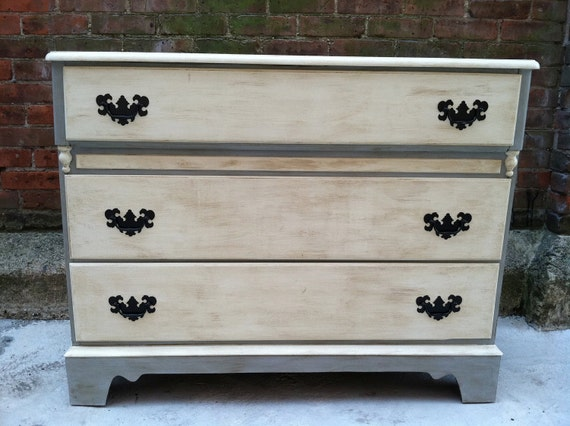 Grey and White Tea Stained Painted Dresser Vintage Cottage Chic FREE DELIVERY to NYC and New England