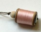 Vintage Thread on Wooden Spool Ornament - Light Pink