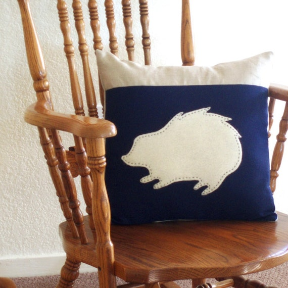 Large Hand-Stitched Wool Hedgehog Pillow Cover - Blue, 16 x 16 inches