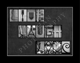 Live Laugh Love alphabetography collage 8x10