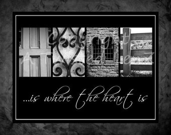 Home is where the heart is alphabetography collage 8x10