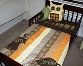 The Drake- Owl Bedding Set- Crib Quilt that fits Toddler Bed, Owl Pillow, Bird Pillow- Add Name
