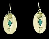 Yoga Tree Pose Asana Earrings - Sterling Silver, Turquoise, and Moonstone