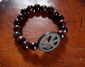 Peace Bracelet  Jasper and Wood Beads with Howlite Peace Sign - FREE SHIPPING