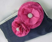 Wedding Clutch Purse Evening Bag - Two Handmade Silk Shabby Chic Blossoms with Rhinestone Centers  - French Kiss