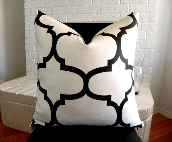 black and white decorative pillow cover 20 x 20 inch. Black Bedroom Furniture Sets. Home Design Ideas
