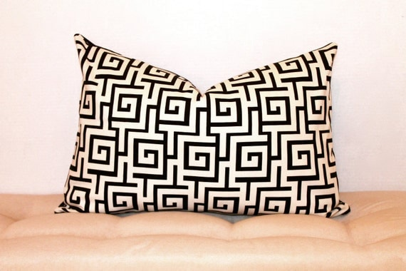 21x14 Greek key pillow cover in black and white