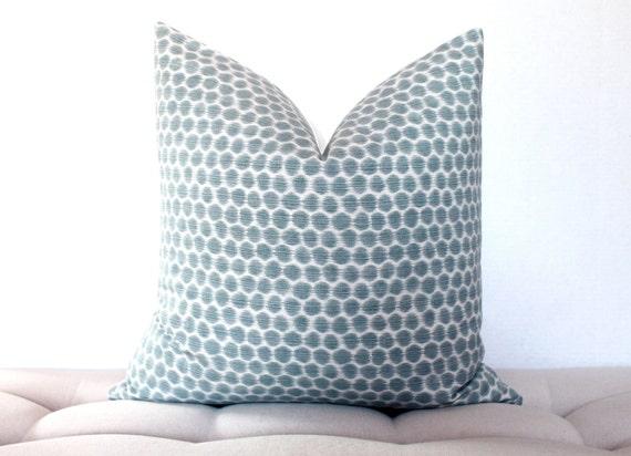 """Kravet Dotkat  19"""" x 19""""  ikat  pillow cover in blue river"""