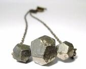 Pyrite Rough Facet Geometric Necklace
