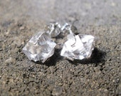 Herkimer Diamond Stud Earrings Sterling Silver Prong Set Raw Crystals