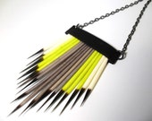 Southwest Porcupine Quill Lime and Grey Necklace