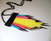 Neon Tribal Porcupine Quill Necklace