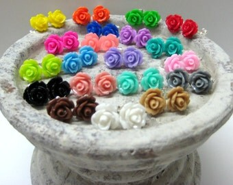 Ten Pairs - Rose Stud Earrings - You Choose - 24 Colors