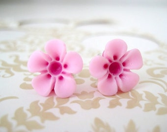 SALE - Hot Pink and Light Pink Two Toned Flower Earrings