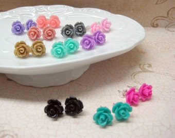 SALE - One Pair - Rose Stud Earrings - You Choose - 24 Colors
