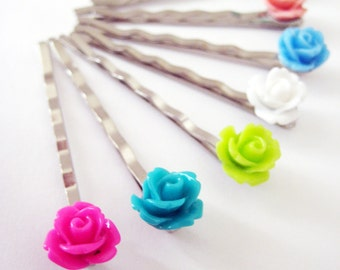 FOUR Rose Bobby Pins - Choose Your Own Colors - 24 Colours