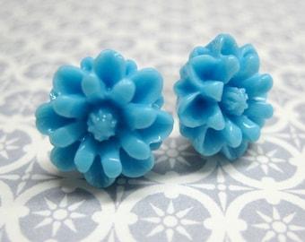 SALE - Sky Blue Chrysanthemum Stud Earrings