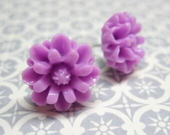 SALE - Lilac Chrysanthemum Stud Earrings