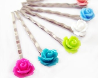 Two - Rose Bobby Pins - You Choose - 24 Colors