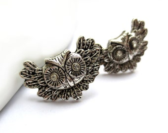 CLEARANCE - Winged Owl Silver Stud Earrings