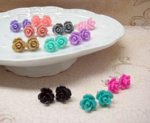 Three Pairs - Rose Stud Earrings - You Choose - 24 Colors