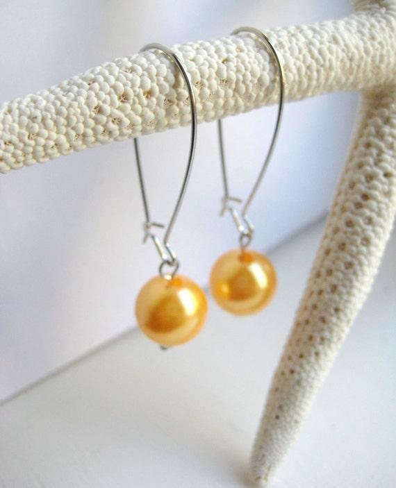 Golden Yellow Faux Pearl Kidney Wire Earrings