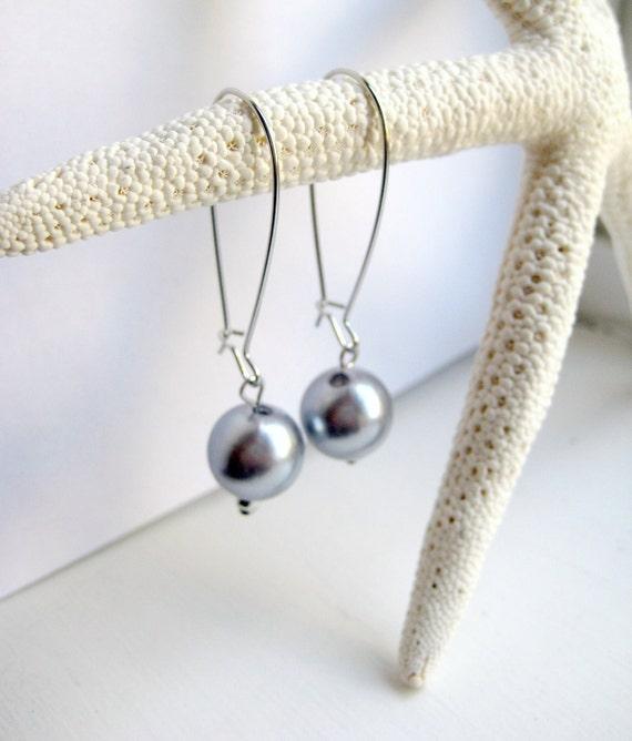 Grey Faux Pearl Kidney Wire Earrings