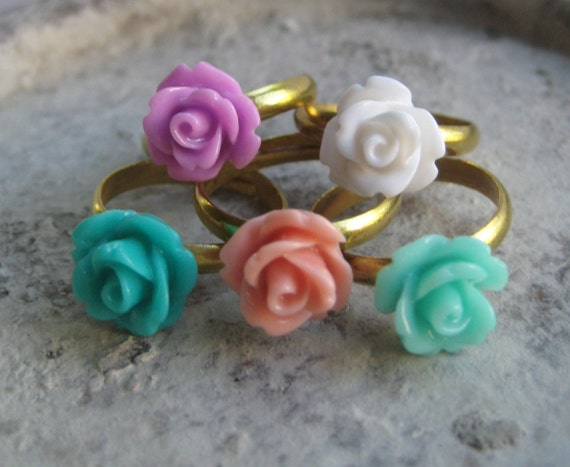 ONE Rose Adjustable Brass Ring - Choose Your Colors - 24 Colors to Choose From