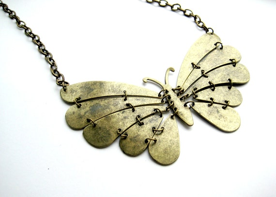 Butterfly Antique Brass Necklace