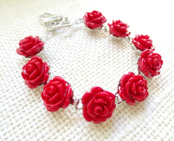 CLEARANCE - Blood Red Rose Silver Bracelet