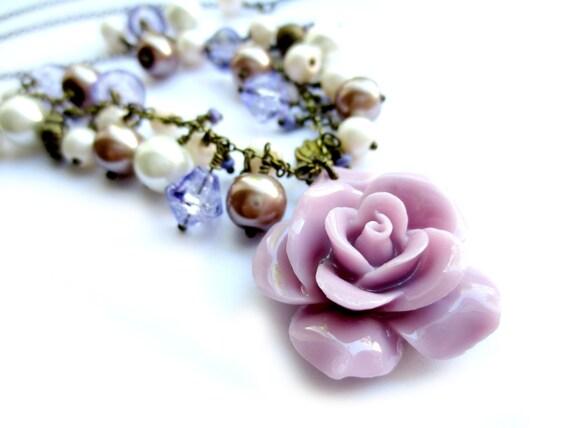 Lilac Purple Rose Antique Brass Necklace