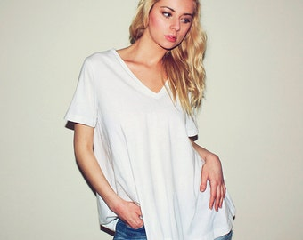 Vneck boyfriend t-shirt, women's oversize tunic top, vneck cotton plain tshirt, deep vneck shortsleeve tshirt tunic, flowy white tunic top