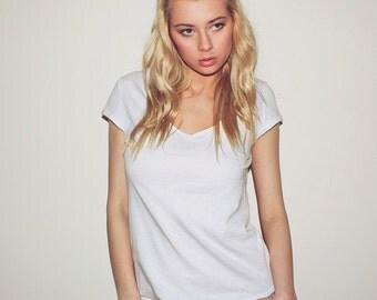 Deep V neck t-shirt, low cut sexy top