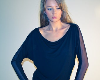 Sheer black top, dolman batwing long sleeve blouse, oversize off shoulder sheer top