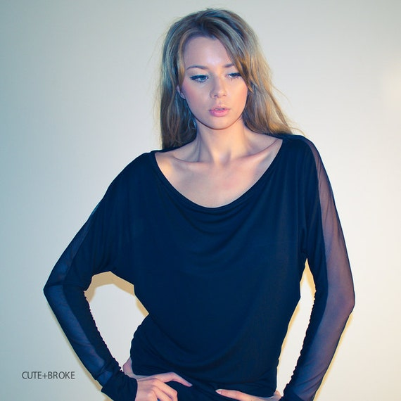 Sheer black top, dolman batwing long sleeve blouse, oversize off shoulder sheer top