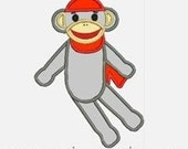 Sock Monkey...Embroidery Applique Design...Three sizes for multiple hoops...Item1144.
