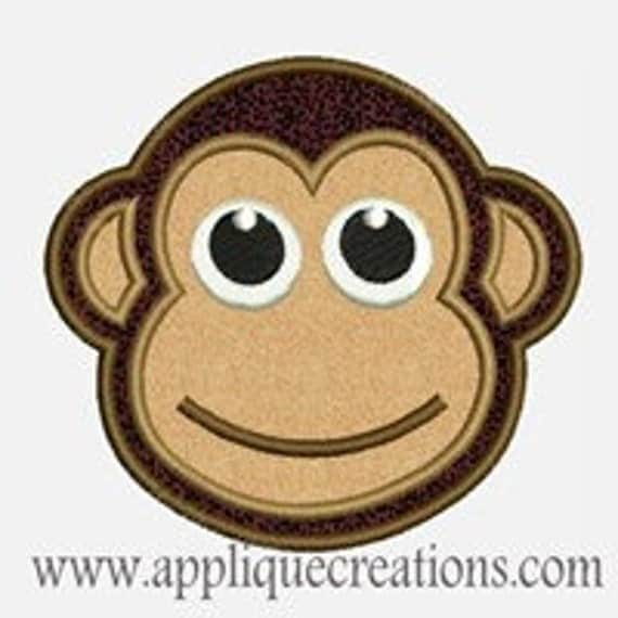 Monkey Face...Embroidery Applique Design...Three sizes for multiple hoops...Item1012.