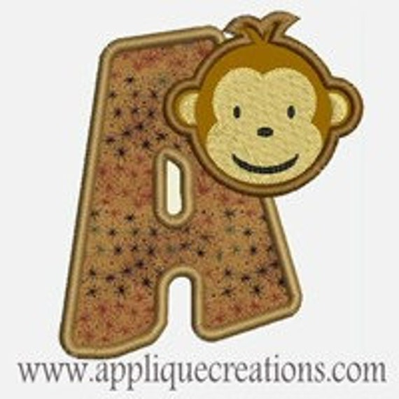 Monkey Alphabet A-Z...Embroidery Applique Design...Three sizes for multiple hoops...item1214