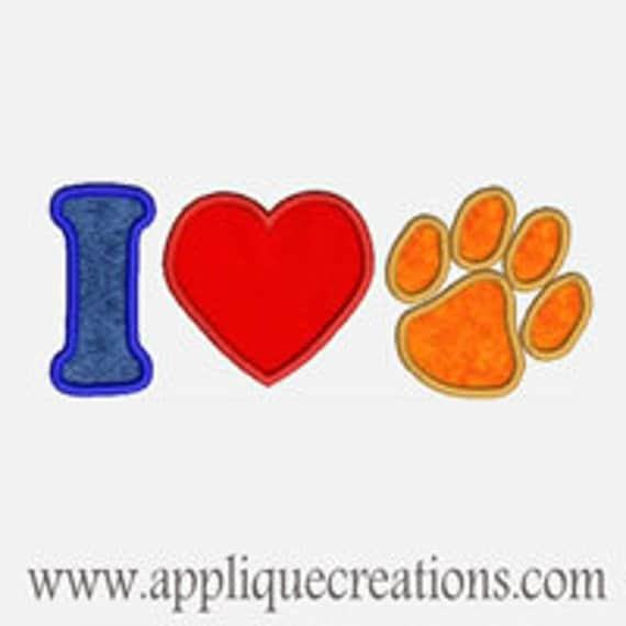 I Heart Paws...Embroidery Applique Design...Three sizes for multiple hoops...item1233