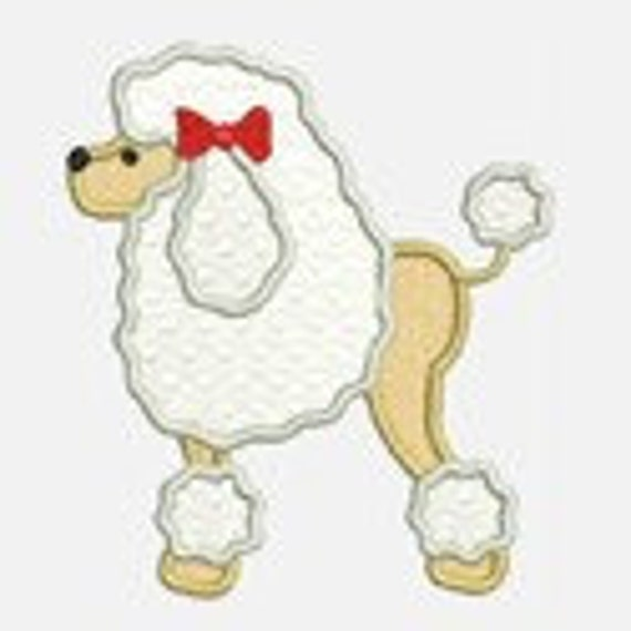 Poodle...Embroidery Applique Design...Three sizes for multiple hoops...Item1163.