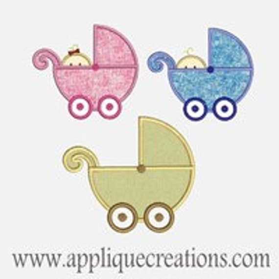 Baby Strollers 3 designs..Embroidery Applique Design...Three sizes of each for multiple hoops...Item1157.