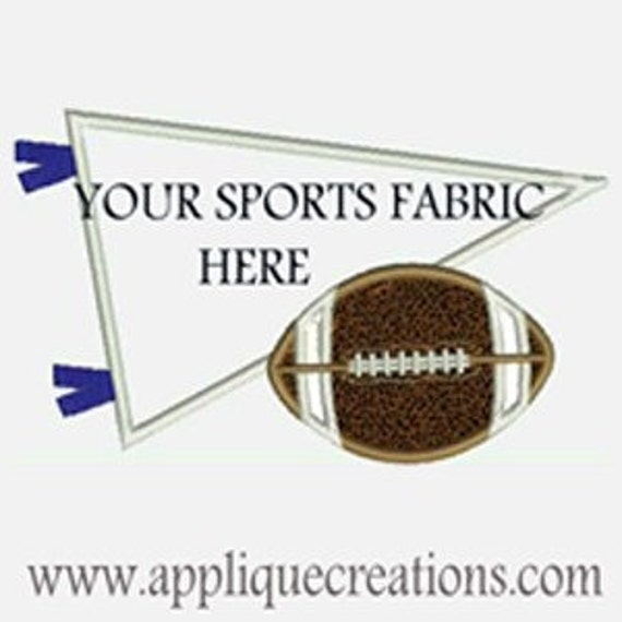 Football with Pennant...Great for Sports Team Fabric...Embroidery Applique Design...Three sizes for multiple hoops...item1181
