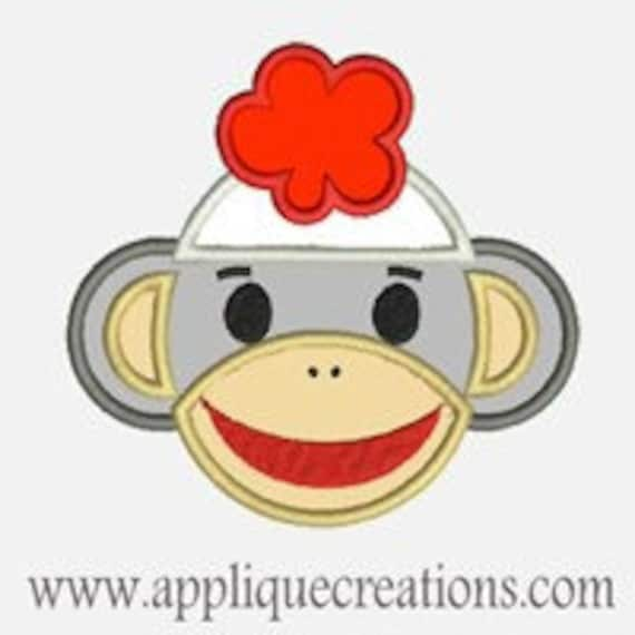 Ms Sock Monkey...Embroidery Applique Design...Three sizes for multiple hoops...Item1142.